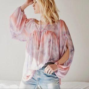 Free People • tie-dye cold shoulder top